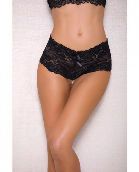 Lace, Pearl Boyshorts Satin Bow Accents Black S-M