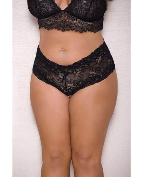 Lace, Pearl Boyshorts Satin Bow Accents Black 1X-2X