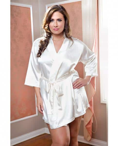 Satin 3-4 Sleeve Robe Matching Sash White 1X-2X