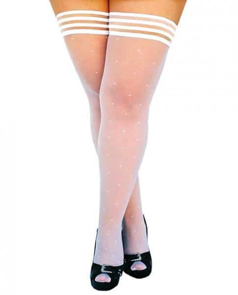 Kixies Brooke Leanne Polka Dot Thigh High White D