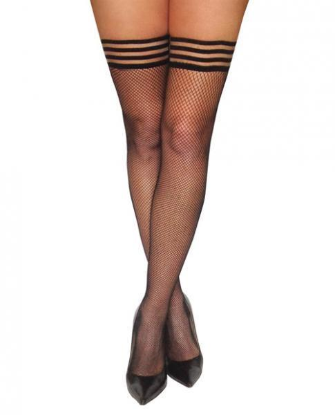 Kixies Sam Fishnet Thigh Highs Black A