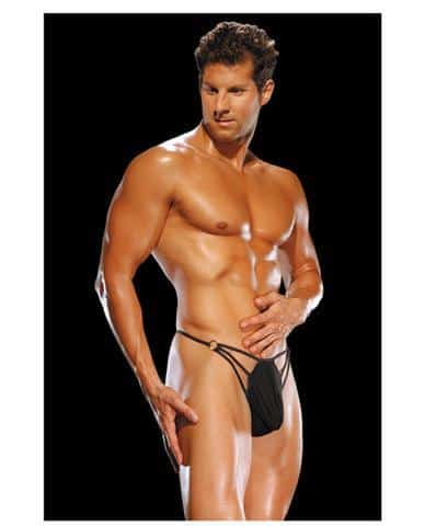 Male power g-string w-straps and rings small-medium - black
