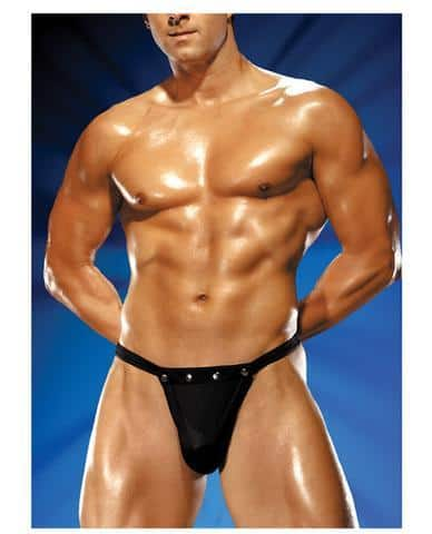 Male power rip off thong w-studs black s-m