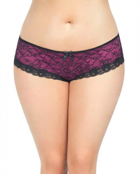 Cage Back Lace Panty Black Hot Pink 3X-4X