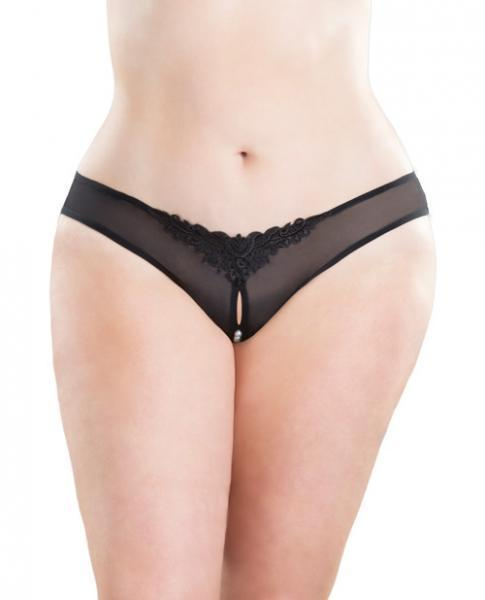 Crotchless Thong with Pearls Black 1X-2X