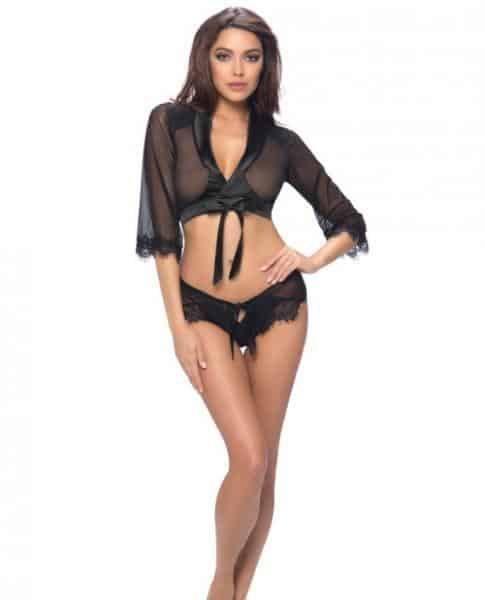 Cropped Wrap Robe, Lap Shorts Satin Ties & Lace Black S-M