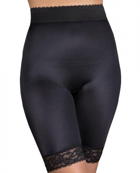 Rago Shapewear Long Leg Shaper Gripper Lace Bottom Black Lg
