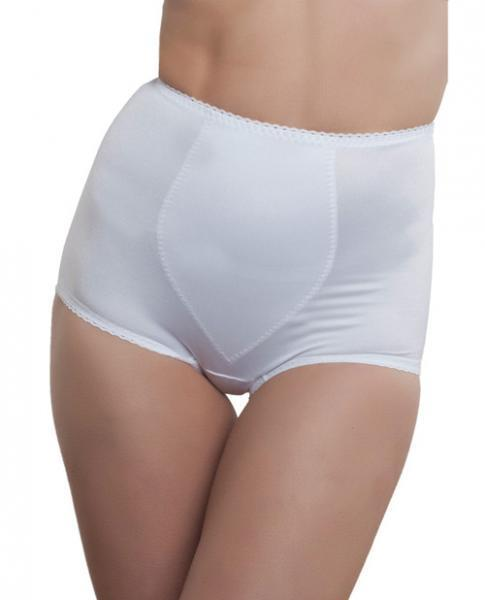 Rago Shapewear Rear Shaper Panty Brief Light Shaping Contour Pads White 2X