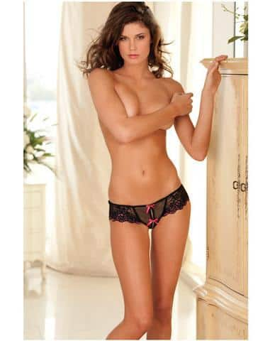Rene Rofe Crotchless Lace Thong Bows Black S-M