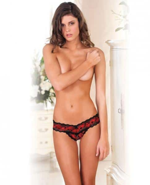 Crotchless Lace V Thong Red Black S-M