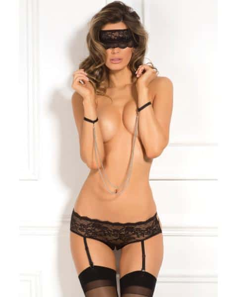 Rene Rofe Crotchless Panty, Mask & Chain Cuffs Black M-L