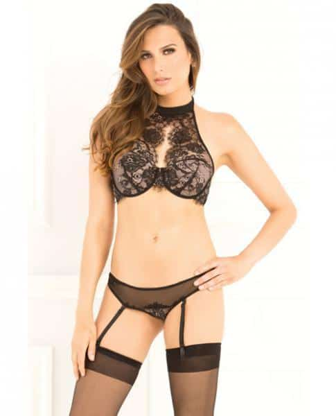 Lace Choker Bra & Garter G-String Set Black M-L