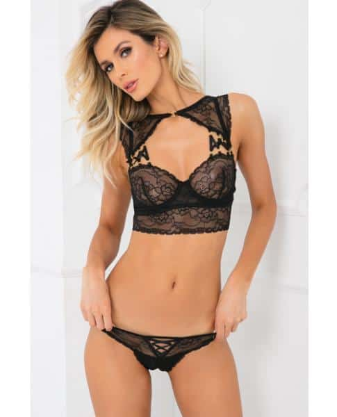 Rene Rofe Flawless Lace Bra & Panty Set Black S-M