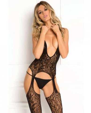 Rene Rofe Lace Seduction Bodystocking Black O-S