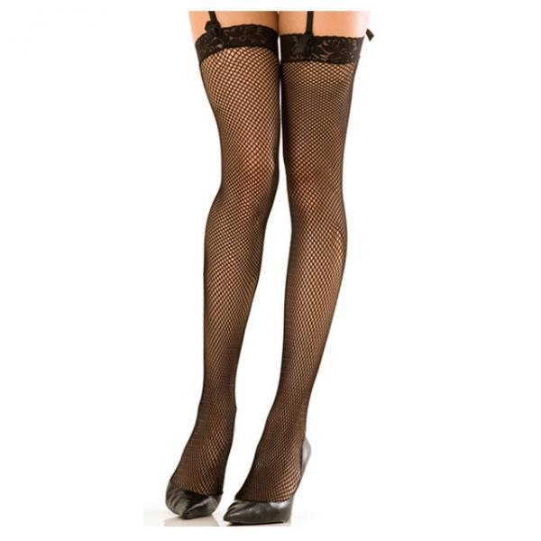 Lace Top Fishnet Thigh High Stockings Black O-S