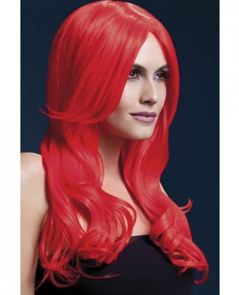 Smiffy Fever Wig Khloe Red 26 inches Long Wave Center Part