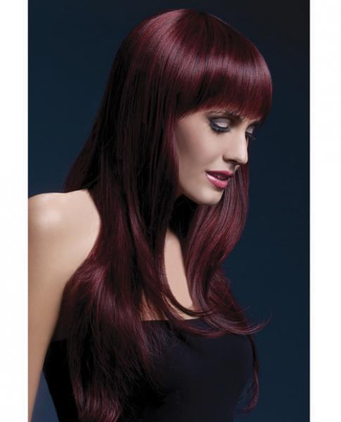 Smiffy Fever Wig Sienna 26 inches Long Feathered Black Cherry