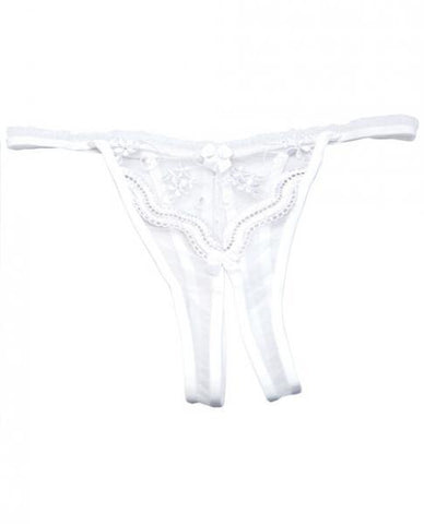 Scalloped Embroidery Crotchless Panty White O-S