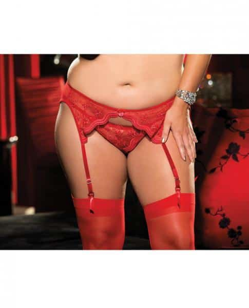 Scalloped Embroidery Garterbelt Front & Back Garters Red 1X-2X