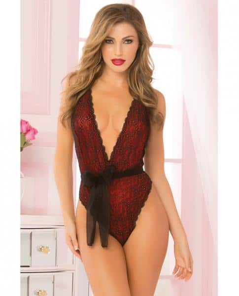 Floral Lace, Mesh Teddy Snap Crotch & Sash Red O-S