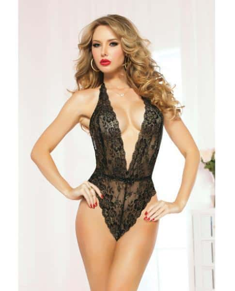 Lace Teddy Halter Satin Ties & Snap Crotch Black O-S