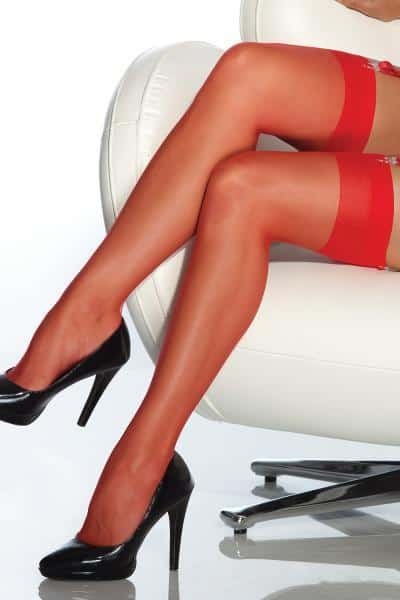 Coquette Sheer Thigh High Red O-S