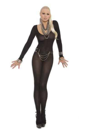 Sheer Long Sleeve Body Stocking Black O-S