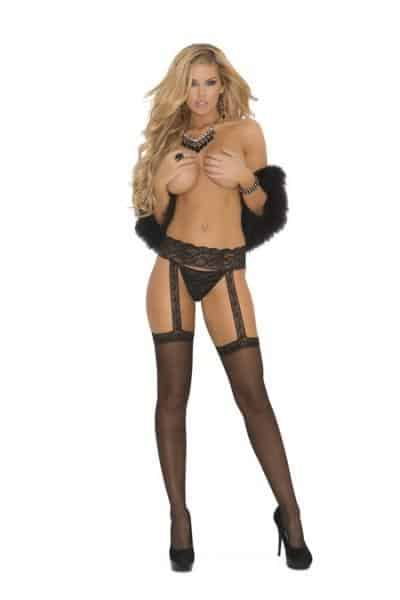 Sheer Garter Belt Hose Black O-S