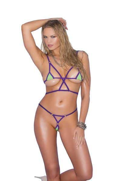 Bikini 2 Piece Swimwear Set Green, Purple O-S