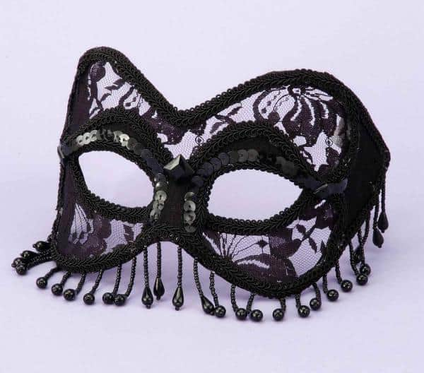 Mask Venetian Black Lace with Beads O-S