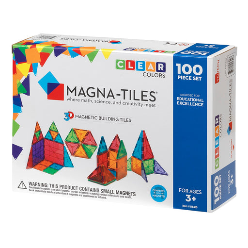 Magna-Tiles 100 Piece Clear Colors - JKA Toys