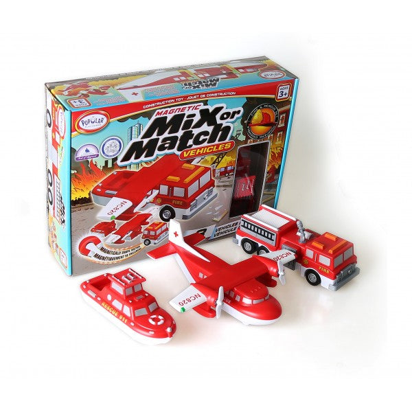 Magnetic Mix or Match Fire Rescue Vehicles - JKA Toys