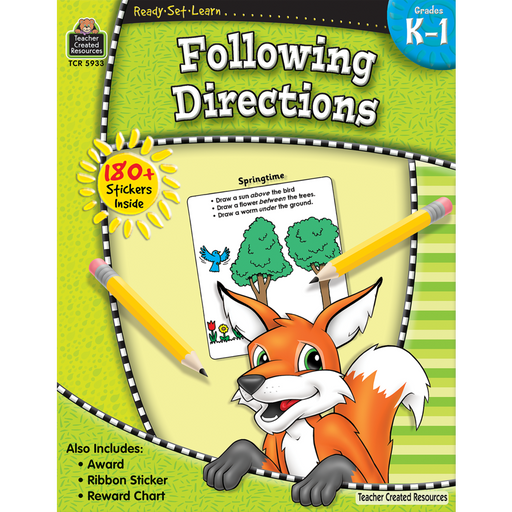 Ready Set Learn Workbooks: Following Directions- K-1 - JKA Toys