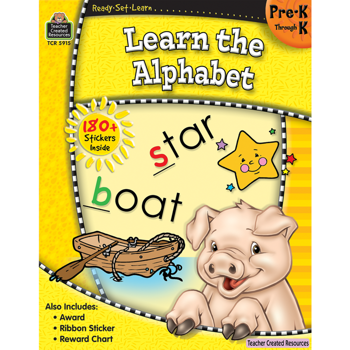 Ready Set Learn Workbook: Learn The Alphabet - Grades PreK-K - JKA Toys