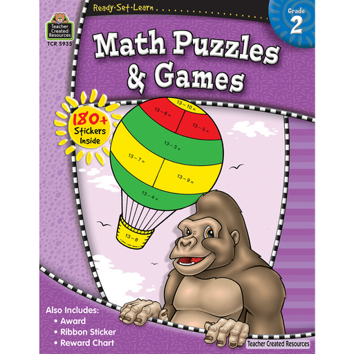 Ready Set Learn Workbook: Math Puzzles & Games - Grade 2 - JKA Toys