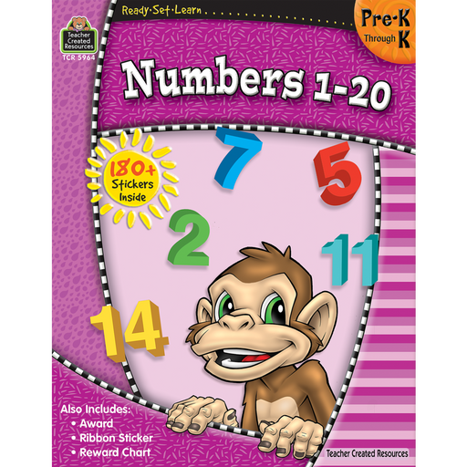 Ready Set Learn Workbook: Numbers 1-20 - Grades Pre-K - K - JKA Toys