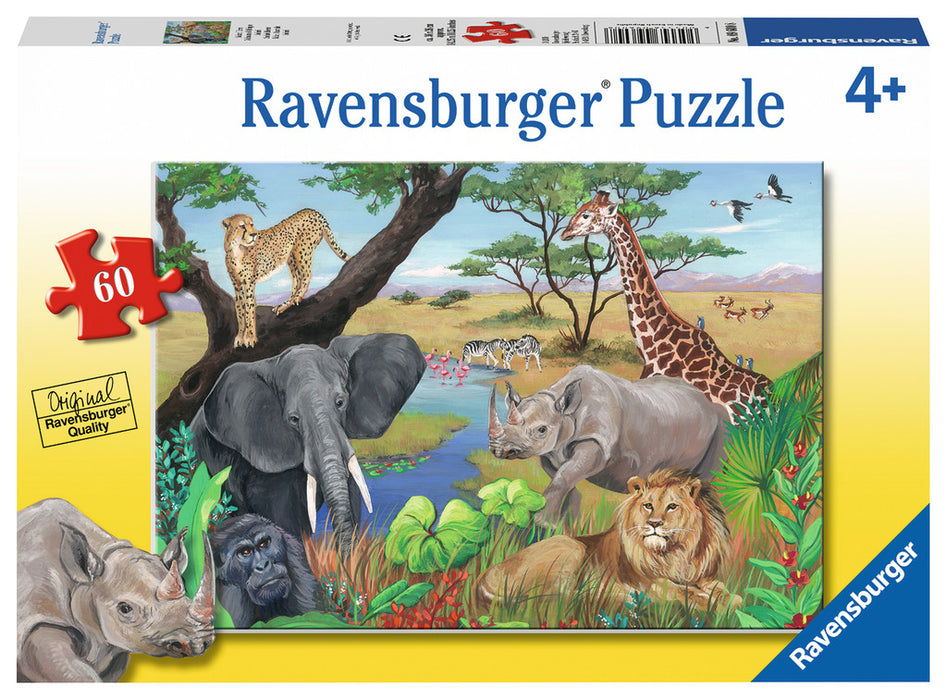 60 Piece Safari Animals Puzzle - JKA Toys