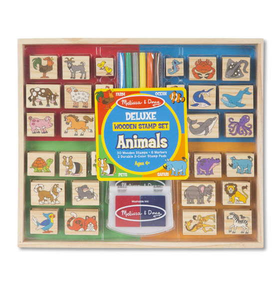 Deluxe Wooden Stamp Set- Animals - JKA Toys