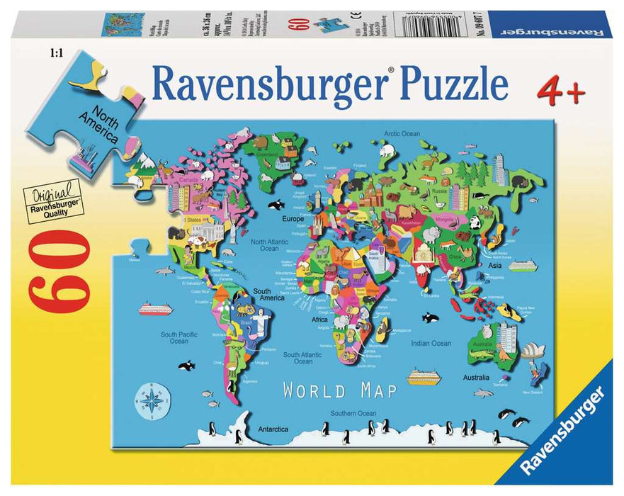 60 Piece World Map Puzzle - JKA Toys