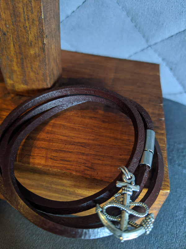 Brown Leather Wrap Bracelet with Pin Closure, Pewter Anchor - Hannah's Closet - The Official Boutique for Delta Gamma
