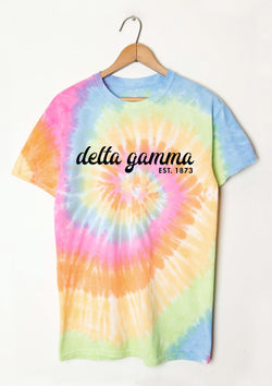 Tie Dye Script Tee - Hannah's Closet - The Official Boutique for Delta Gamma