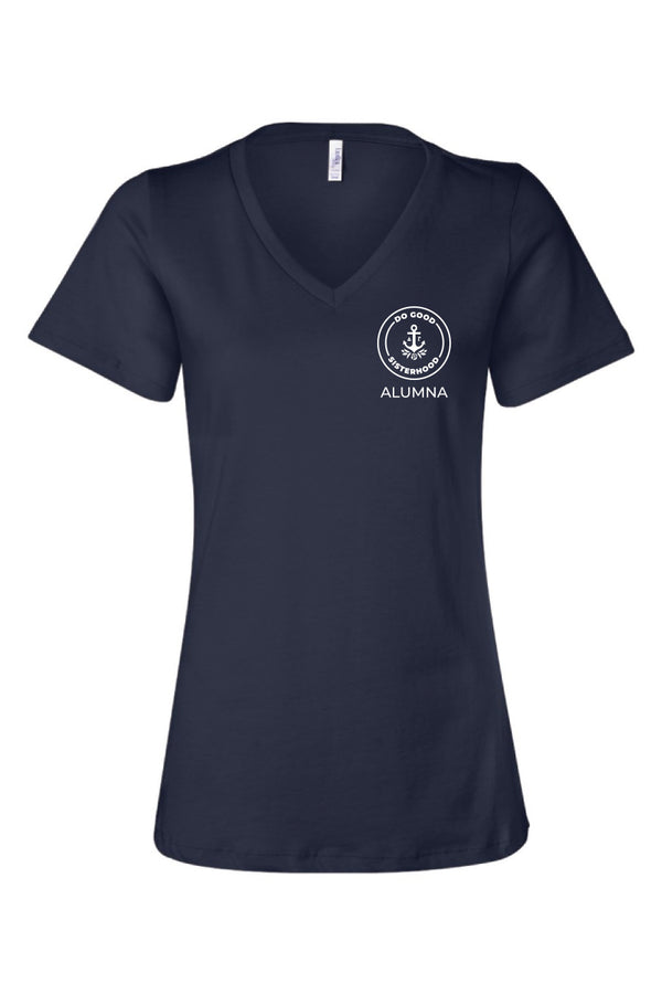 Navy Alumna Logo Vneck - Hannah's Closet - The Official Boutique for Delta Gamma