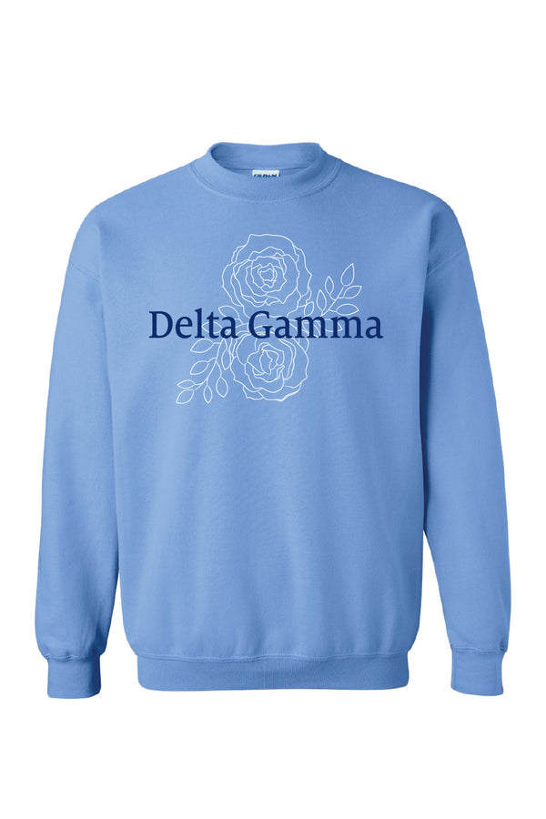 Roses and DG Crewneck - Hannah's Closet - The Official Boutique for Delta Gamma