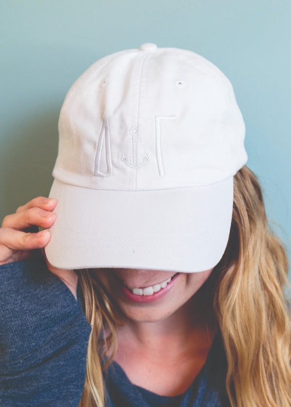 White Tone on Tone Hat - Hannah's Closet - The Official Boutique for Delta Gamma