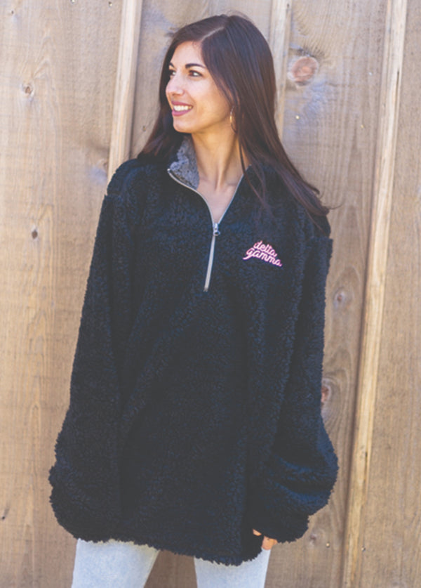 Black Sherpa 1/4 Zip - Hannah's Closet - The Official Boutique for Delta Gamma