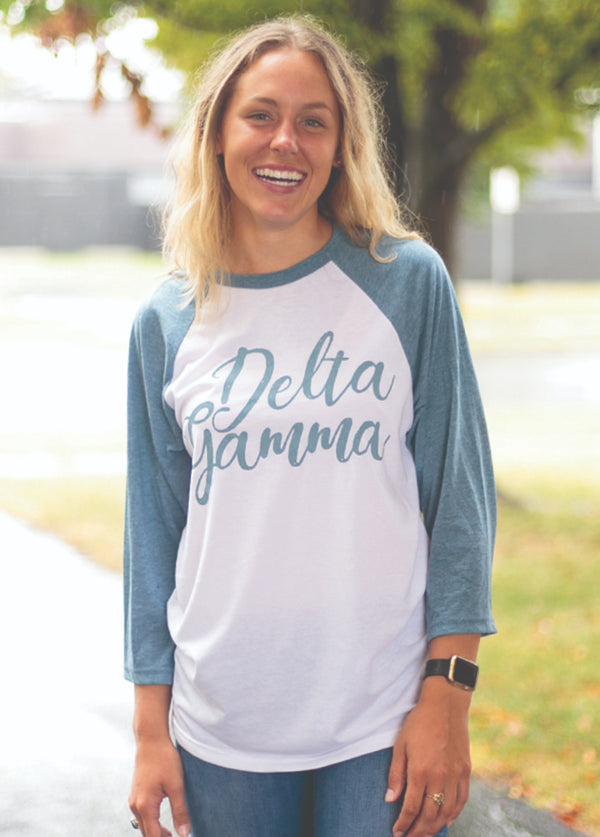 Denim and White Baseball T - Hannah's Closet - The Official Boutique for Delta Gamma