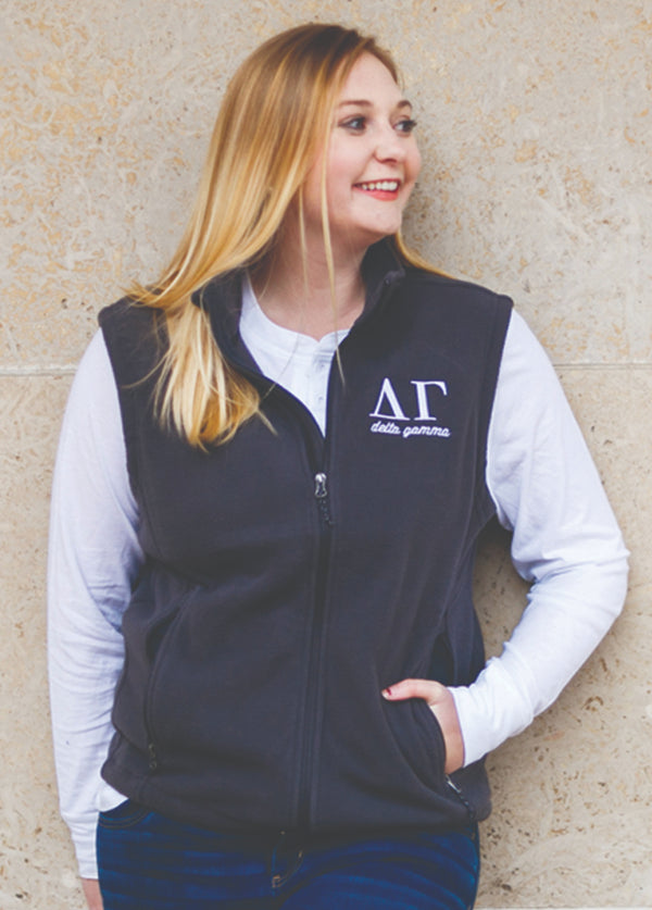Charcoal Fleece Vest - Hannah's Closet - The Official Boutique for Delta Gamma