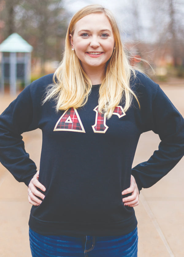Tartan Block Letter Sweatshirt - Hannah's Closet - The Official Boutique for Delta Gamma