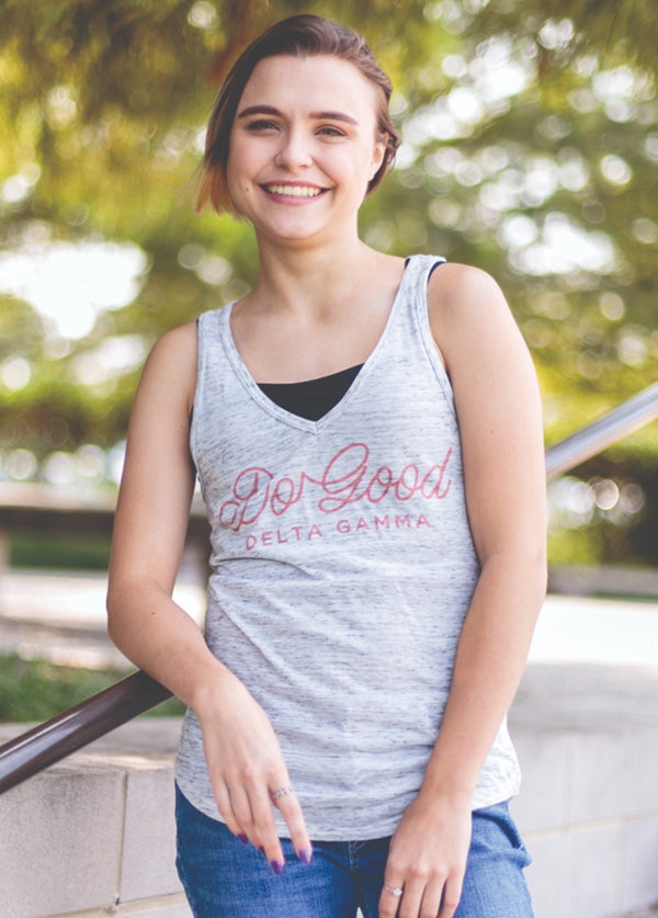 White Marble Do Good Flowy Tank - Hannah's Closet - The Official Boutique for Delta Gamma