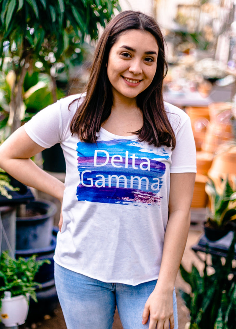 Brushstroke Hi-Lo Tee - Hannah's Closet - The Official Boutique for Delta Gamma